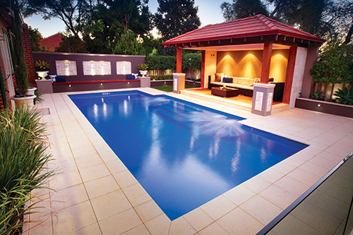The Regal 9.25m x 4.4m award-winning fibreglass swimming pool