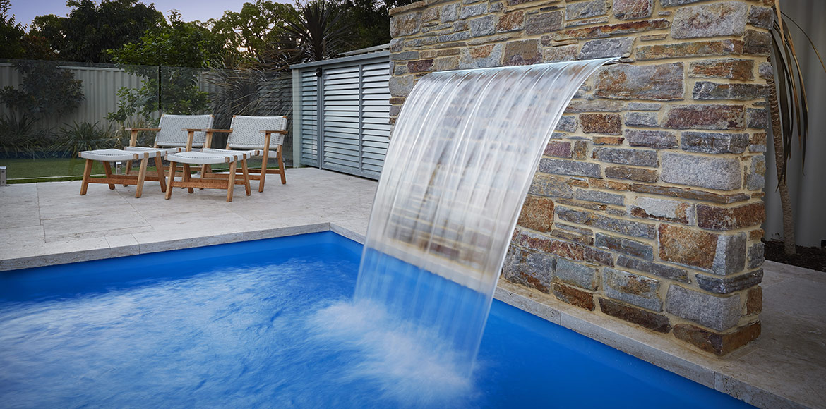 """Imperial"" fibreglass pool design, pictured in backyard"