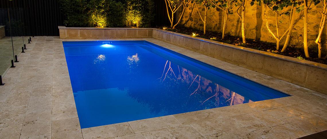 """Cambridge"" Fibreglass Pool (Backyard Pool pictured, in ""Horizon"" pool colour)"