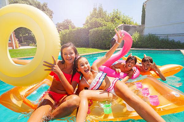 Kids on Swimming Pool Toys
