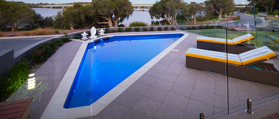 """Bermuda"" Fibreglass Pool Design, pictured as backyard pool with views overlooking Perth"