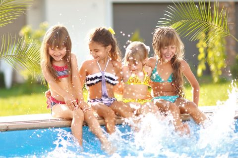 Children playing poolside